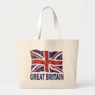 AGED AND WORN GREAT BRITAIN FLAG JUMBO TOTE BAG