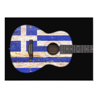 Aged and Worn Greek Flag Acoustic Guitar, black Announcement