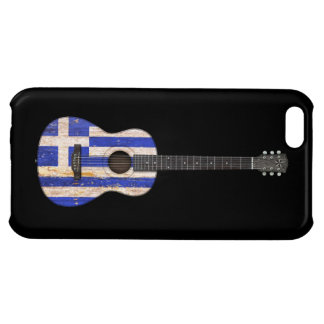 Aged and Worn Greek Flag Acoustic Guitar, black Cover For iPhone 5C