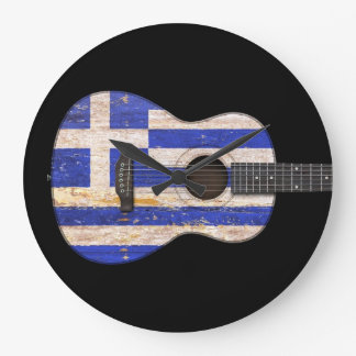 Aged and Worn Greek Flag Acoustic Guitar, black Large Clock