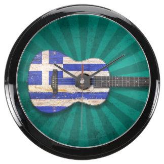 Aged and Worn Greek Flag Acoustic Guitar, teal Fish Tank Clocks
