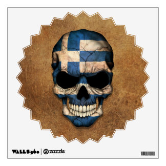 Aged and Worn Greek Flag Skull Wall Decal