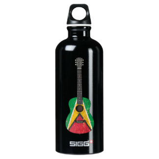 Aged and Worn Guyana Flag Acoustic Guitar Aluminum Water Bottle