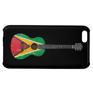 Aged and Worn Guyana Flag Acoustic Guitar, black iPhone 5C Covers