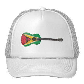 Aged and Worn Guyana Flag Acoustic Guitar Trucker Hats