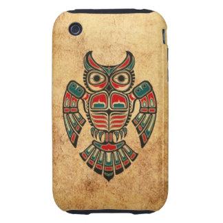 Aged and Worn Haida Spirit Owl iPhone 3 Tough Case