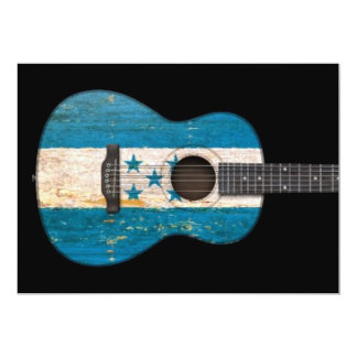 Aged and Worn Honduras Flag Acoustic Guitar, black Invitation
