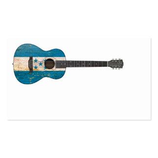 Aged and Worn Honduras Flag Acoustic Guitar Business Card Templates