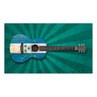 Aged and Worn Honduras Flag Acoustic Guitar, teal Business Card Template