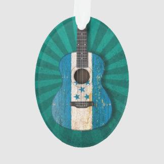 Aged and Worn Honduras Flag Acoustic Guitar, teal Ornament