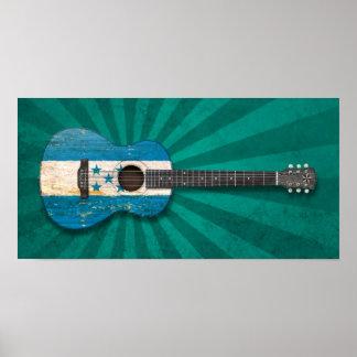 Aged and Worn Honduras Flag Acoustic Guitar, teal Print