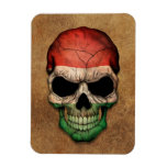 Aged and Worn Hungarian Flag Skull Flexible Magnet