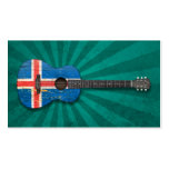 Aged and Worn Icelandic Flag Acoustic Guitar, teal Business Card Templates