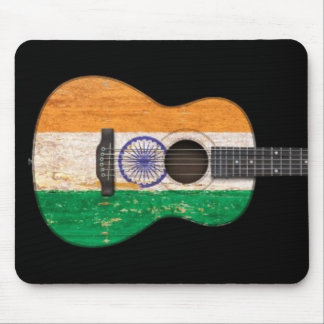 Aged and Worn Indian Flag Acoustic Guitar, black Mouse Pad