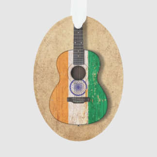 Aged and Worn Indian Flag Acoustic Guitar Ornament