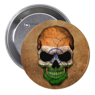 Aged and Worn Indian Flag Skull Button