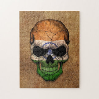 Aged and Worn Indian Flag Skull Jigsaw Puzzles