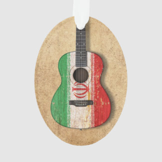 Aged and Worn Iranian Flag Acoustic Guitar Ornament