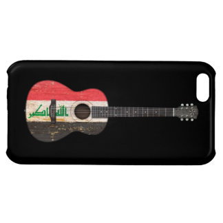 Aged and Worn Iraqi Flag Acoustic Guitar, black Case For iPhone 5C