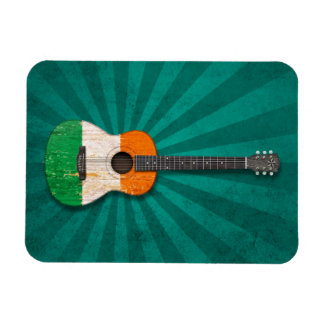 Aged and Worn Irish Flag Acoustic Guitar, teal Magnet