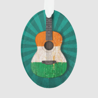 Aged and Worn Irish Flag Acoustic Guitar, teal Ornament