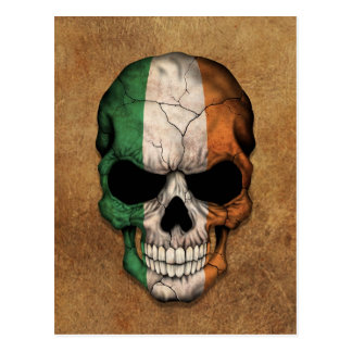 Aged and Worn Irish Flag Skull Postcard