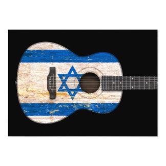 "Aged and Worn Israeli Flag Acoustic Guitar, black 5"" X 7"" Invitation Card"