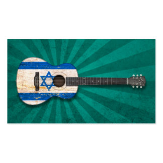 Aged and Worn Israeli Flag Acoustic Guitar, teal Business Card