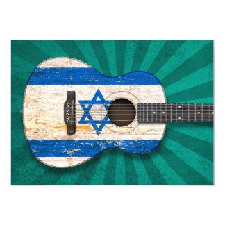 "Aged and Worn Israeli Flag Acoustic Guitar, teal 5"" X 7"" Invitation Card"