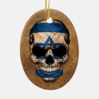Aged and Worn Israeli Flag Skull Christmas Ornament