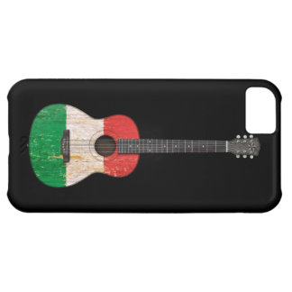 Aged and Worn Italian Flag Acoustic Guitar, black Cover For iPhone 5C