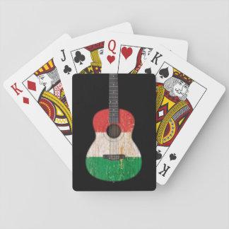 Aged and Worn Italian Flag Acoustic Guitar black Card Decks