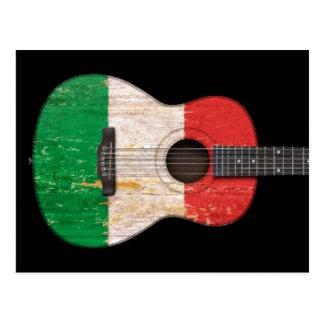 Aged and Worn Italian Flag Acoustic Guitar, black Postcard