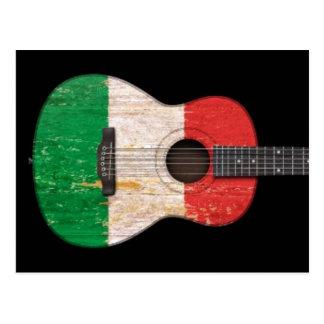 Aged and Worn Italian Flag Acoustic Guitar, black Postcard