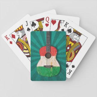 Aged and Worn Italian Flag Acoustic Guitar teal Card Decks