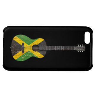 Aged and Worn Jamaican Flag Acoustic Guitar, black Case For iPhone 5C