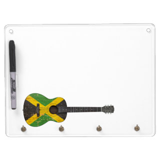 Aged and Worn Jamaican Flag Acoustic Guitar Dry-Erase Board