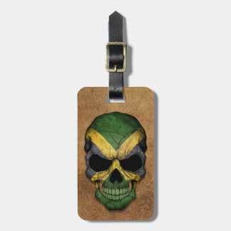 Aged and Worn Jamaican Flag Skull Luggage Tags