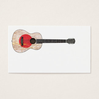 Aged and Worn Japanese Flag Acoustic Guitar Business Card