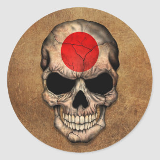 Aged and Worn Japanese Flag Skull Classic Round Sticker