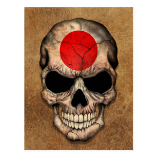 Aged and Worn Japanese Flag Skull Postcard