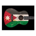 Aged and Worn Jordanian Flag Acoustic Guitar, blac Postcard