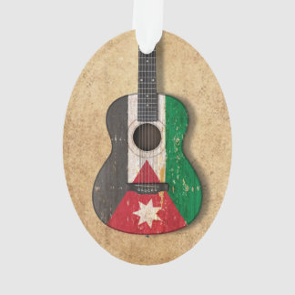 Aged and Worn Jordanian Flag Acoustic Guitar Ornament