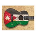 Aged and Worn Jordanian Flag Acoustic Guitar Postcard