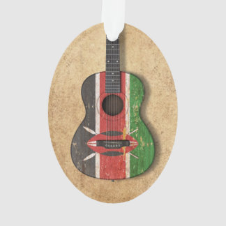 Aged and Worn Kenyan Flag Acoustic Guitar Ornament