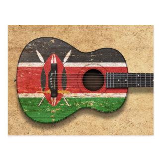 Aged and Worn Kenyan Flag Acoustic Guitar Postcard