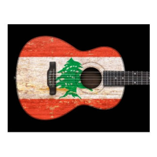 Aged and Worn Lebanese Flag Acoustic Guitar, black Postcard