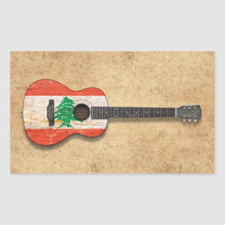 Aged and Worn Lebanese Flag Acoustic Guitar Rectangular Sticker