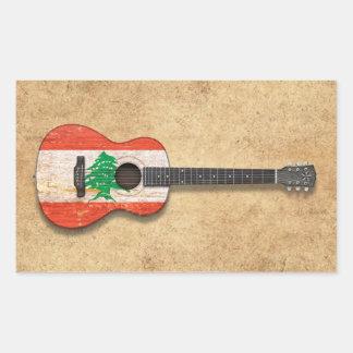 Aged and Worn Lebanese Flag Acoustic Guitar Rectangular Sticker