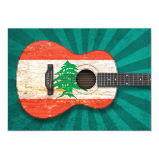 Aged and Worn Lebanese Flag Acoustic Guitar, teal 5x7 Paper Invitation Card